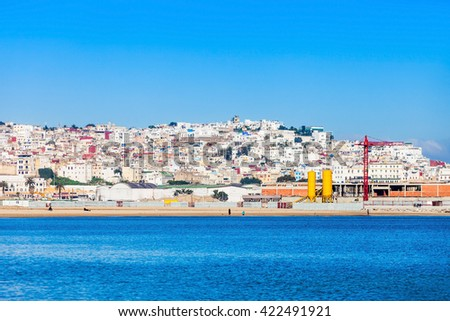 Tangier medina aerial view Morocco. Tangier is a major city in northern Morocco. Tangier located on the North African coast at the western entrance to the Strait of Gibraltar. - stock photo