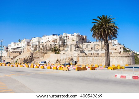 Tangier medina in Morocco. Tangier is a major city in northern Morocco. Tangier located on the North African coast at the western entrance to the Strait of Gibraltar. - stock photo