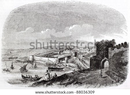 Tangier old view, Morocco. Created by Bertrand, published on Magasin Pittoresque, Paris, 1844 - stock photo