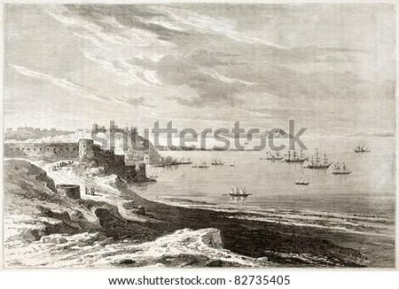 Tangier old view, Morocco.  Created by De Berard, published on Le Tour du Monde, Paris, 1860 - stock photo