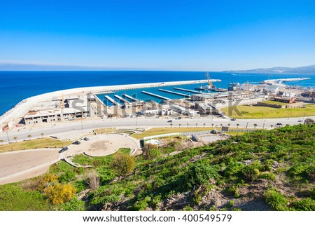 Tangier port aerial view Morocco. Tangier is a major city in northern Morocco. Tangier located on the North African coast at the western entrance to the Strait of Gibraltar. - stock photo