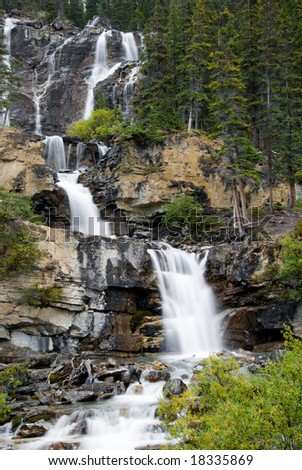 Tangle Falls along the Icefield Parkway in Jasper National Park - stock photo