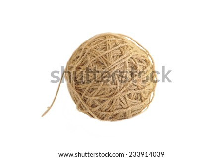 Tangle of twine isolated on white - stock photo