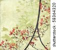 Tangled Blossom Border on Antique Paper and Bamboo Textured Background - stock photo