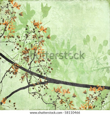 Tangled Blossom Branch on Antique Paper and Bamboo Textured Background - stock photo