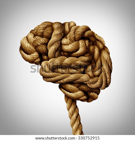 Tangled brain mental health concept as a rope twisted into a human thinking organ as a medical neurological symbol for mind function or diseases as dementia or autism. - stock photo