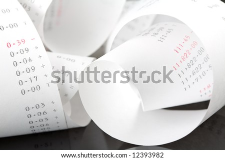 Tangled Coil of a Tape from an Adding Machine - stock photo