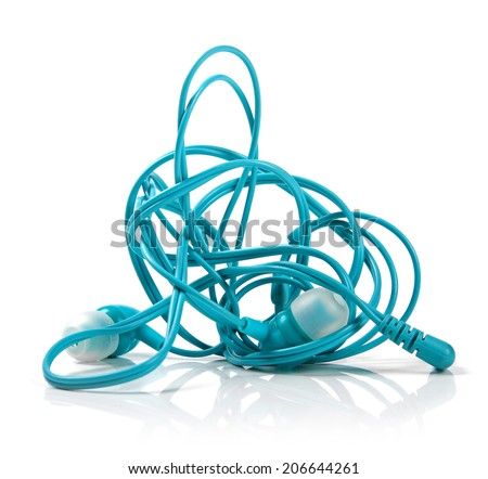 tangled earphones isolated on white - stock photo