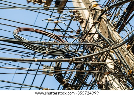 Tangled Electrical Wire On Electricity Post Stock Photo 355724519 ...