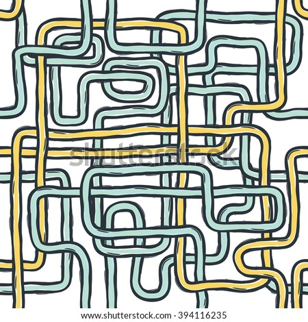 Tangled pipes. Seamless Pattern, Hand-drawn. Raster version