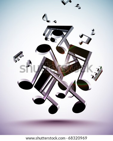 Tangled Up 3D Musical Notes