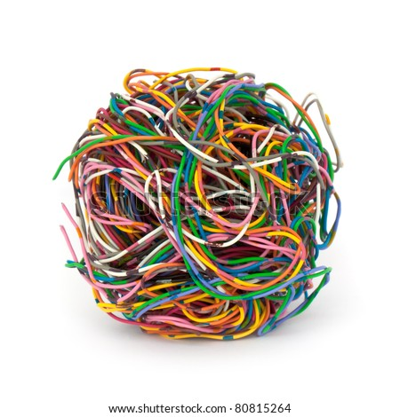 tangled wire isolated on white background - stock photo