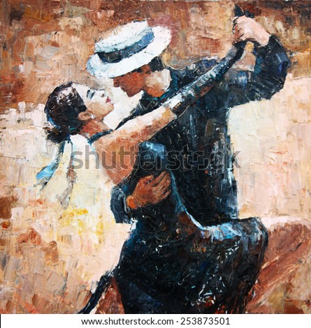tango dancers digital painting, tango dancers - stock photo