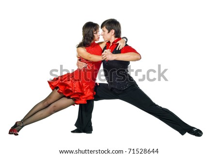 Tango dancers in action isolated on white