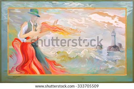 Tango of beach Breton. Oil painting on wood. - stock photo
