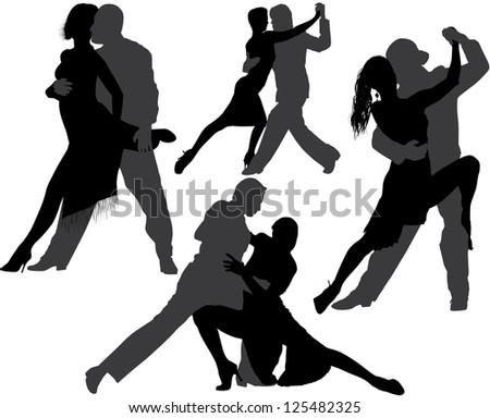 Tango or Salsa dance silhouette. Raster version. - stock photo