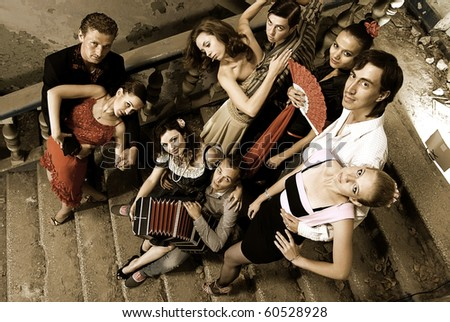 Tango passion photo. Dancers and musicians band - stock photo