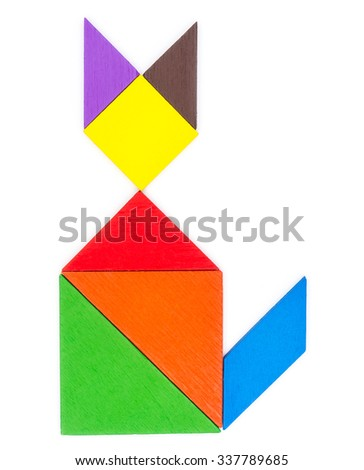 Tangram wooden isolated on white