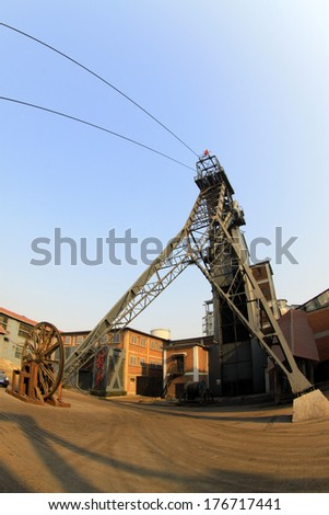 TANGSHAN - JANUARY 2: Mine derrick in the Kailuan national mine park, on January 2, 2014, tangshan city, hebei province, China.