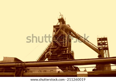 TANGSHAN - JUNE 19: iron works blast furnace local features, on June 19, 2014, Tangshan city, Hebei Province, China  - stock photo