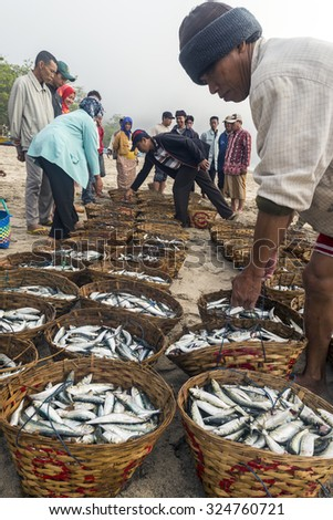 TANJUNG PAPUMA, INDONESIA - SEP 19: Fishermen return to shore with their catch at Tanjung Papuma beach on Sep 19, 2015 in East Java, Indonesia.