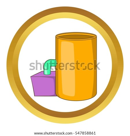 Tank and pipe  icon in golden circle, cartoon style isolated on white background