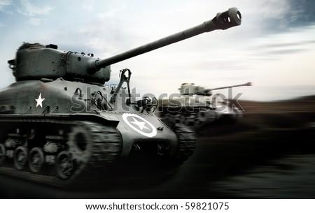Tank Battle, Normandy - stock photo