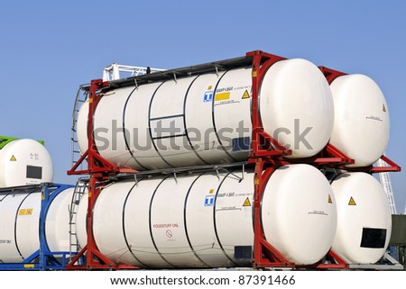 tank container for  chemical transport - stock photo