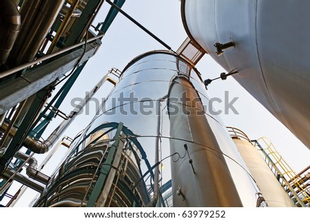 Tank farm with pipeline #1 - stock photo