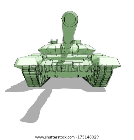 Tank hand drawn illustration - front view - stock photo