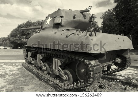Tank in Colleville-sur-Mer, Normandy, France - stock photo