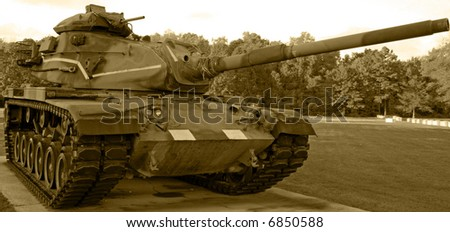 Tank in Sepia - stock photo
