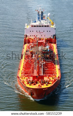 Tank ship seen from above - stock photo
