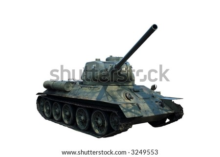 tank T34 on white background - World War Two