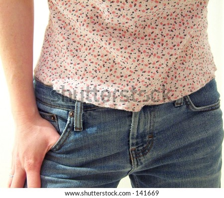 tank top and jeans - stock photo