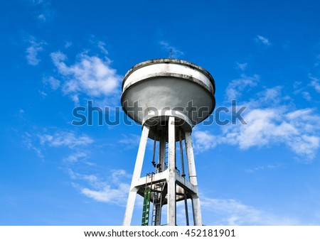 Tank Water Village in rural with blue sky
