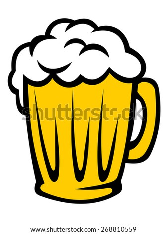Tankard full of golden frothy beer with a good head of froth, cartoon illustration isolated on white - stock photo