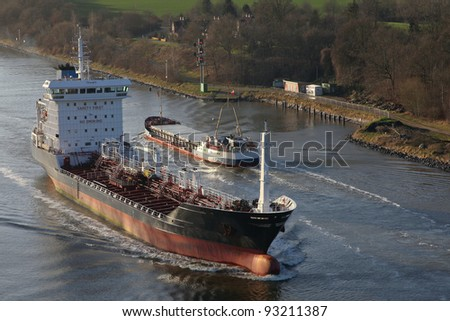 tanker and freighter on the Kiel Canal