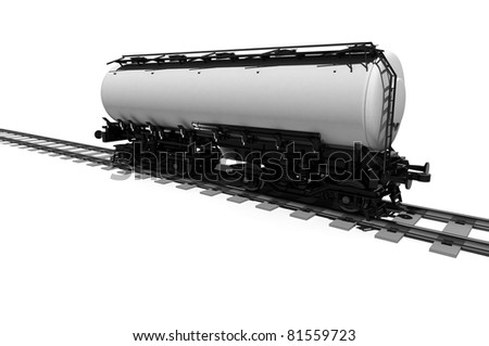 Tanker car on a white background.