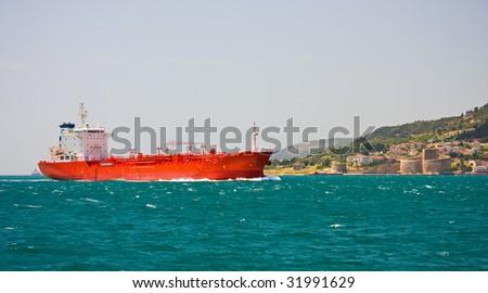 Tanker in the sea near Dardanelles, Turkey - stock photo