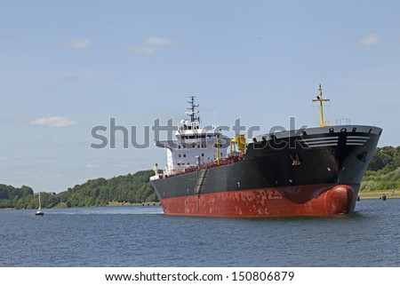 Tanker on Kiel Canal, Germany - stock photo