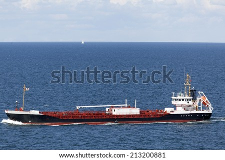 Tanker on the Baltic Sea near Kiel, Germany - stock photo