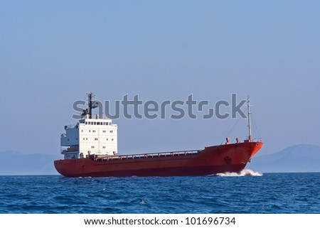 Tanker sailing in the blue sea