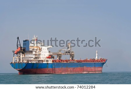 Tanker sailing in the sea