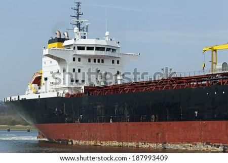 Tanker ship on Kiel Canal, Germany - stock photo