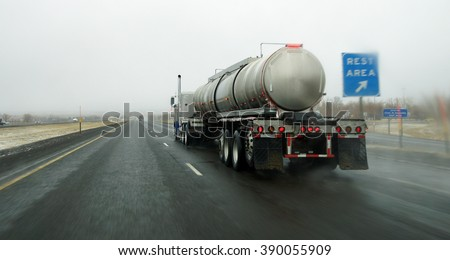 Tanker truck in snowy weather near La Grande, Oregon