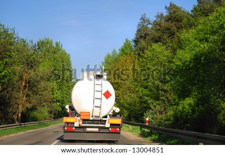 tanker truck on road - stock photo