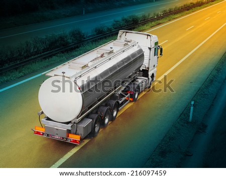 Tanker truck on the highway. - stock photo