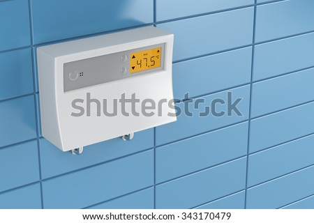 Tankless water heater in bathroom - stock photo