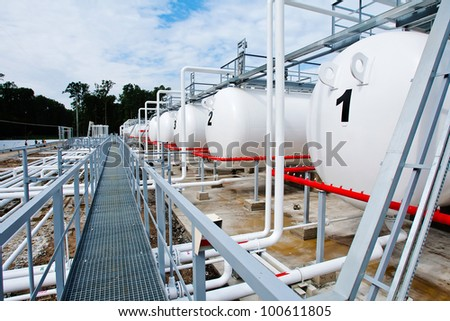 tanks and pipes with gas, Ukraine - stock photo